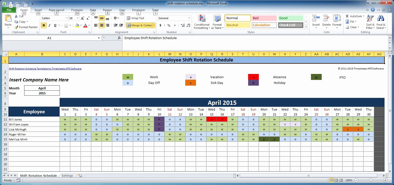 Excel Employee Schedule Template New Free Employee and Shift Schedule Templates