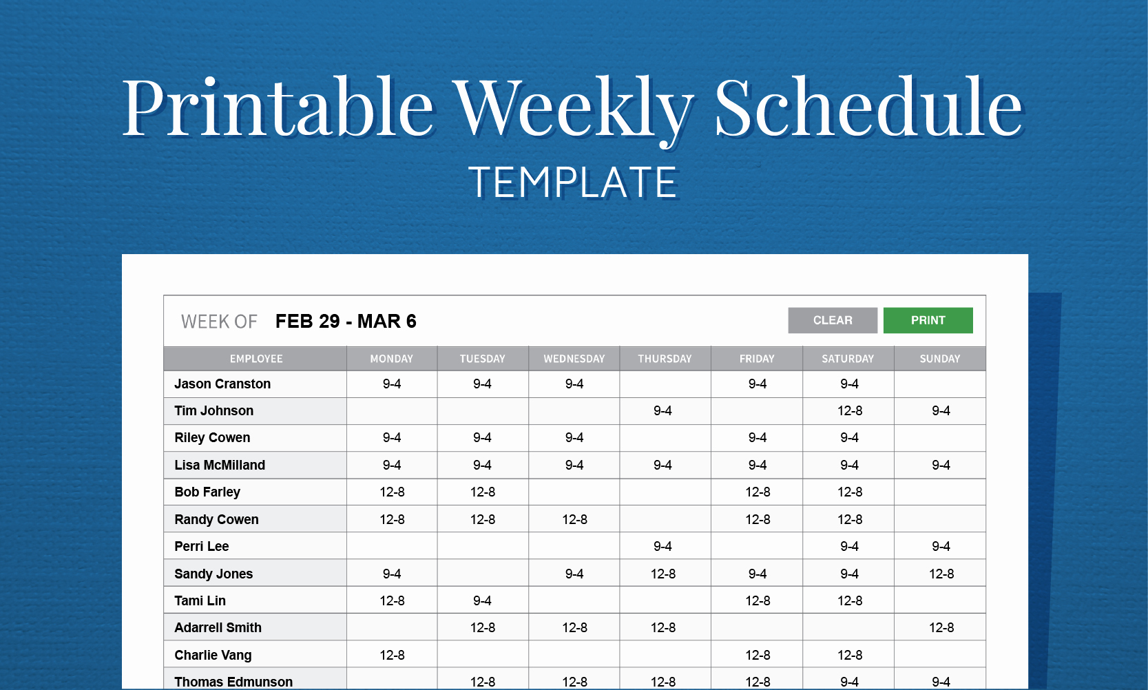 Excel Employee Schedule Template Unique Free Printable Work Schedule Template for Employee