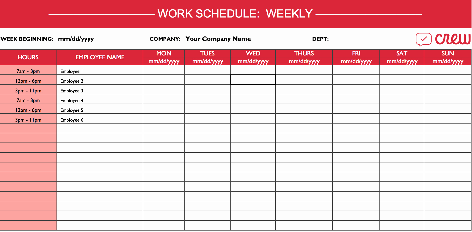 Excel Employee Schedule Template Unique Weekly Work Schedule Template I Crew
