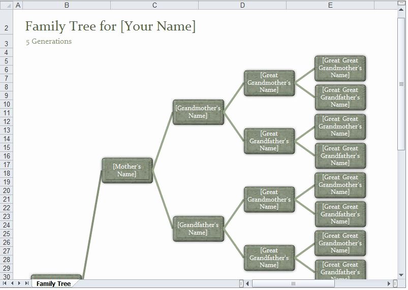 Excel Family Tree Template Beautiful Family Tree Template Excel