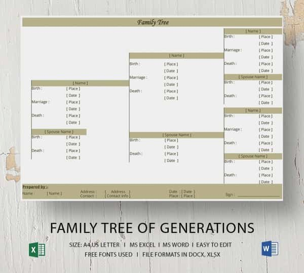 Excel Family Tree Template Fresh Simple Family Tree Template 25 Free Word Excel Pdf