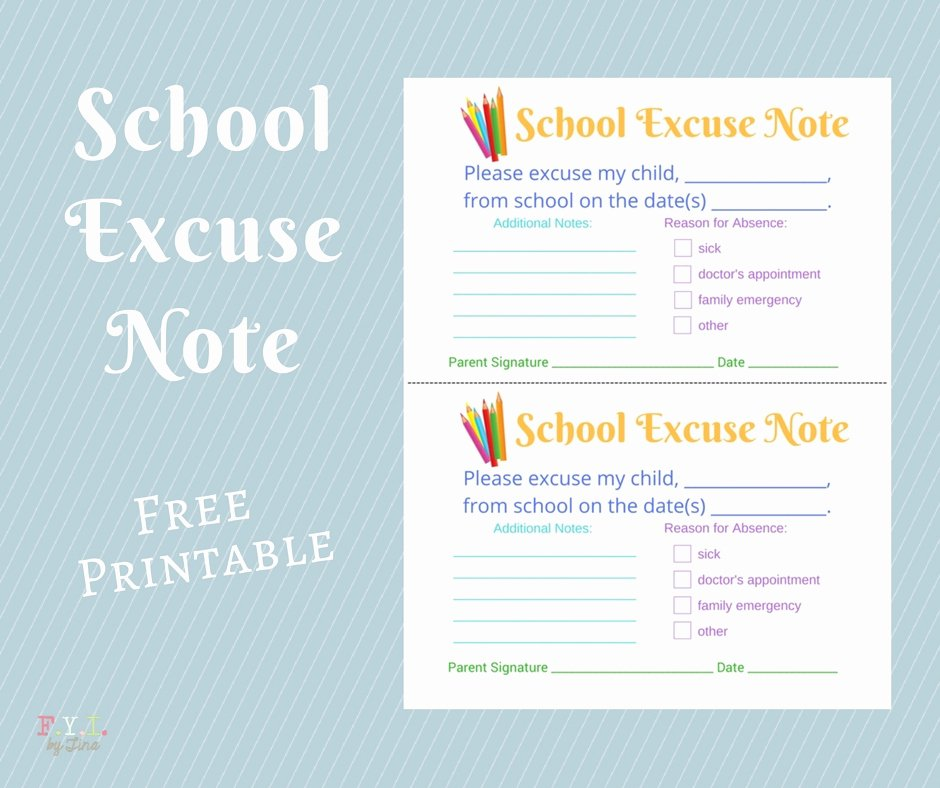 Excuse Note for School Beautiful School Excuse Note Free Printable • Fyi by Tina