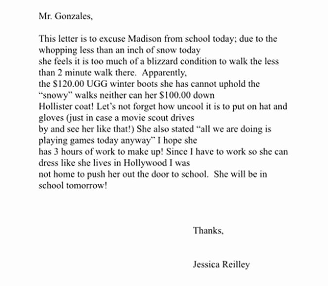 Excuse Note for School Lovely Mom Gently Shames Daughter In 'excuse' Letter to School