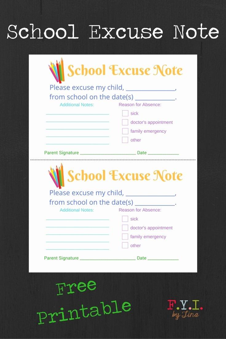 Excuse Note for School Lovely School Excuse Note Free Printable • Fyi by Tina
