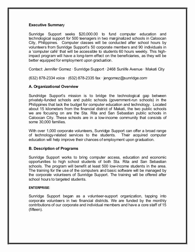 Executive Summary Sample for Proposal Awesome Grant Proposal Sample2