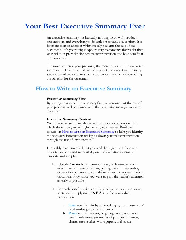 Executive Summary Sample for Proposal Elegant Executive Summary