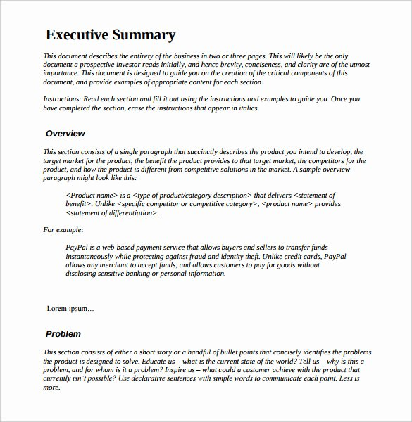 Executive Summary Sample for Proposal Elegant Management Executive Summary Examples