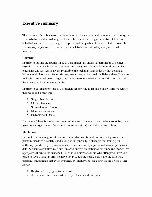 Executive Summary Sample for Proposal Fresh Music Marketing Plan Executive Summary