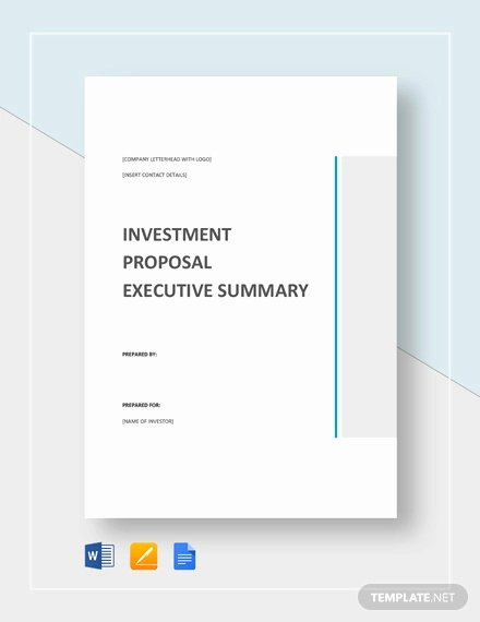 Executive Summary Sample for Proposal Inspirational 30 Investment Proposal Templates Word Pdf Google Docs