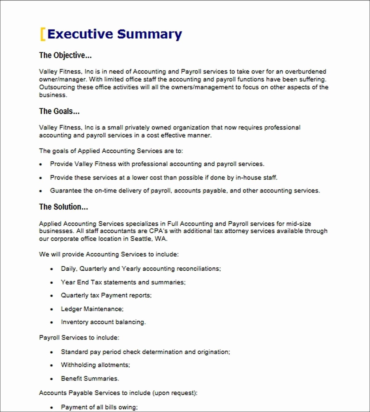 Executive Summary Sample for Proposal Inspirational Executive Summary Proposal Example Pics – Executive