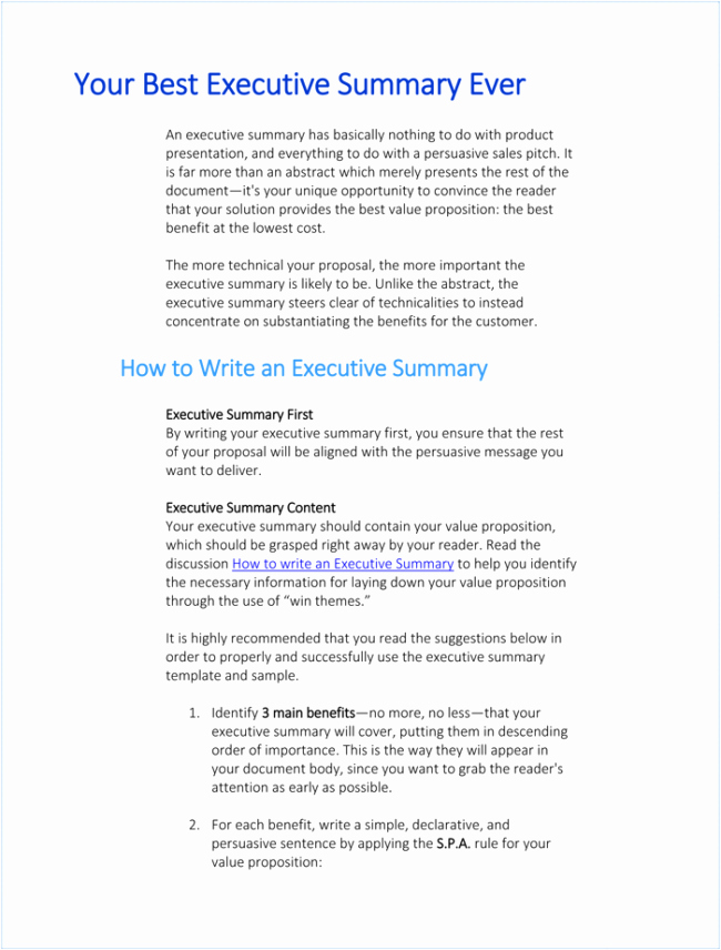 Executive Summary Sample for Proposal New 5 Executive Summary Templates for Word Pdf and Ppt