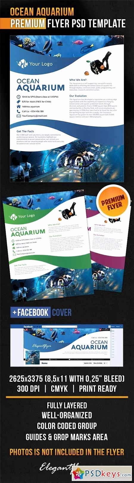 Facebook Cover Template Psd Luxury Ocean Aquarium – Flyer Psd Template Cover