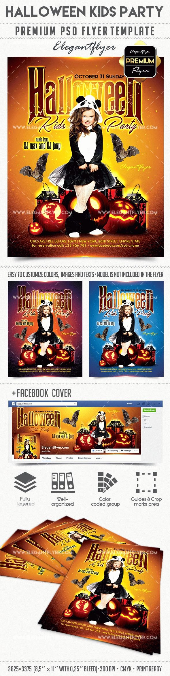 Facebook Template for Students Inspirational Halloween Kids Party – Flyer Psd Template – by Elegantflyer