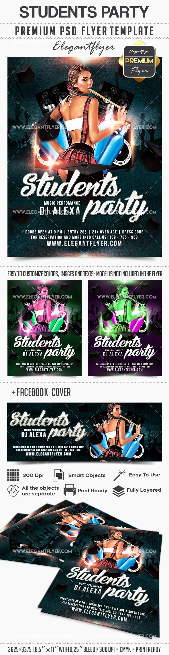 Facebook Template for Students Lovely Students Party – Flyer Psd Template – by Elegantflyer