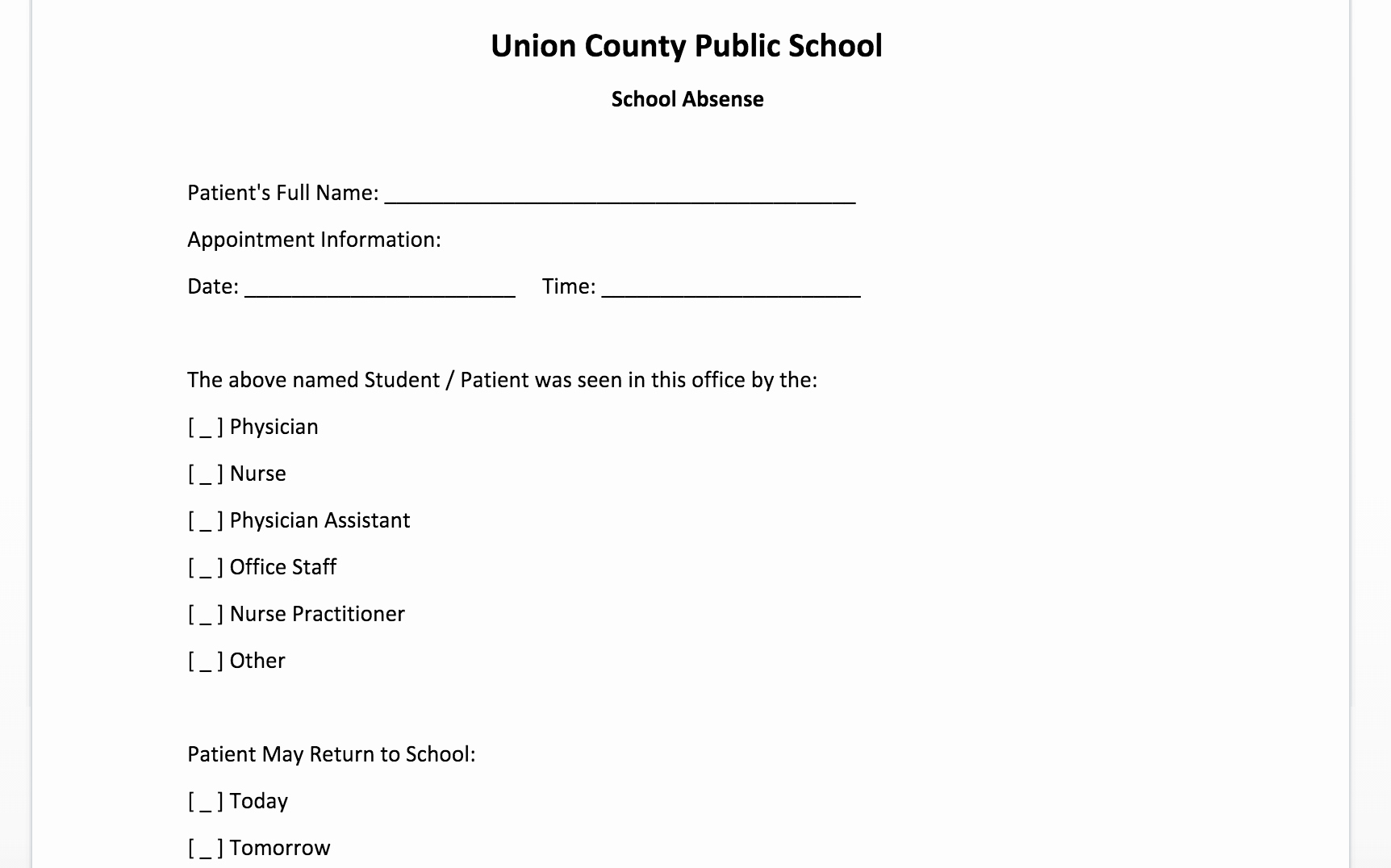 Fake Doctors Note for School Best Of Free Doctor Note Template for Word