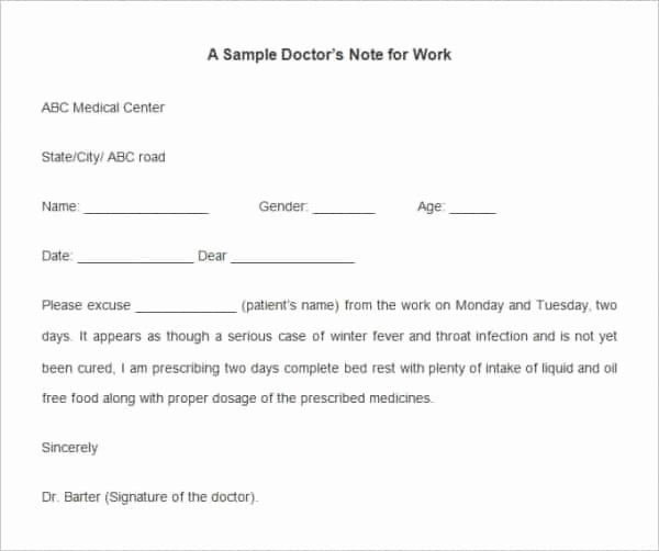 Fake Doctors Note for School Lovely Fake Doctors Note Template for Work or School Pdf