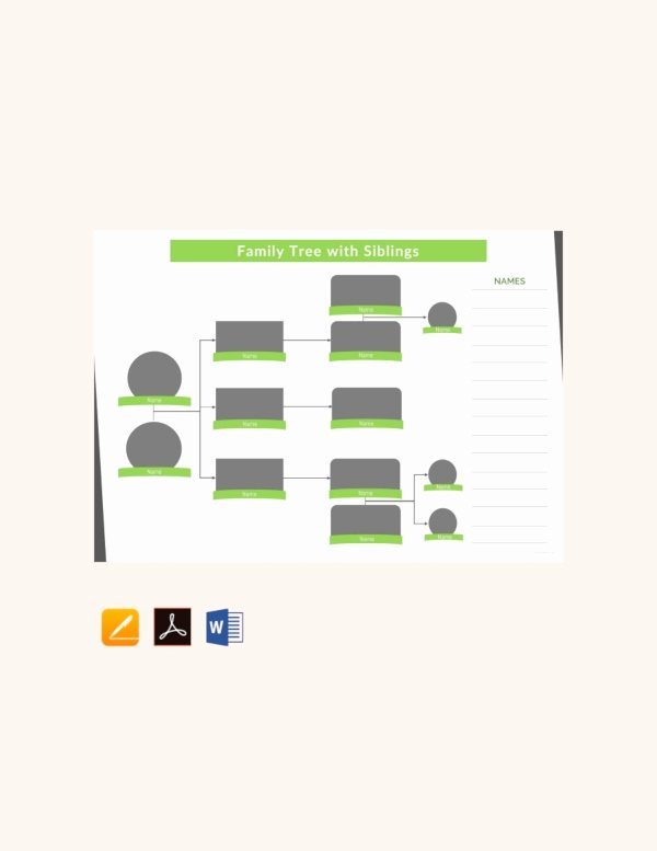 Family Tree Template with Siblings Awesome 37 Family Tree Templates Pdf Doc Excel Psd