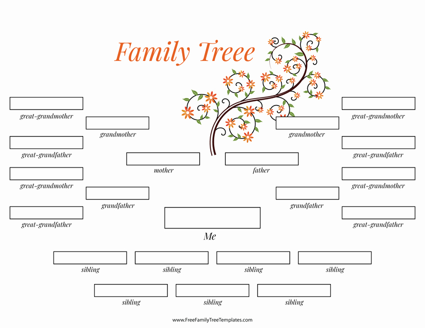 Family Tree Template with Siblings New 4 Generation Family Tree Many Siblings Template – Free