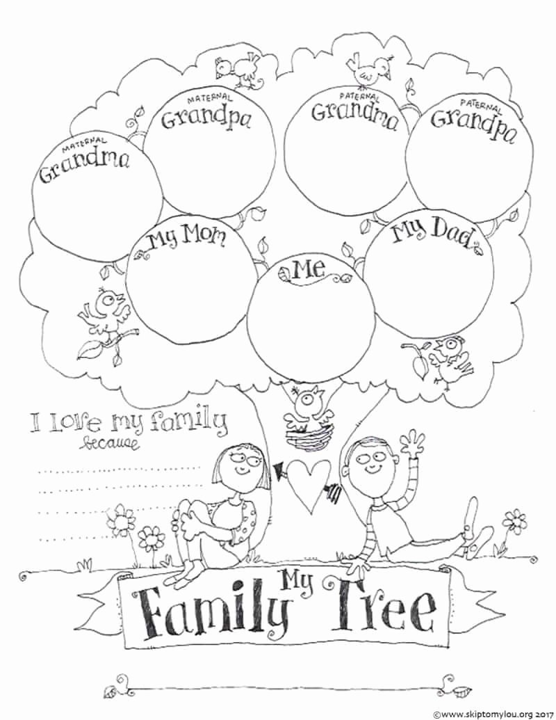 Family Tree Worksheet Printable Beautiful Free Printable Family Tree Coloring Page Crafts