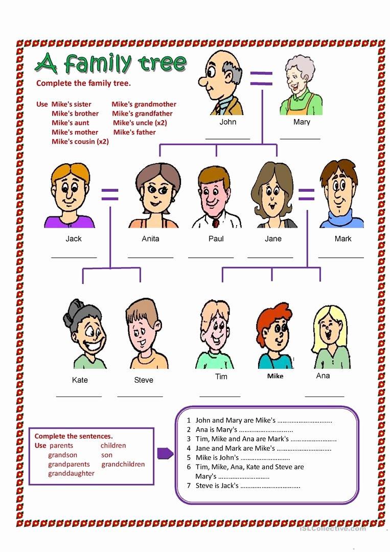 Family Tree Worksheet Printable Fresh A Family Tree Worksheet Free Esl Printable Worksheets