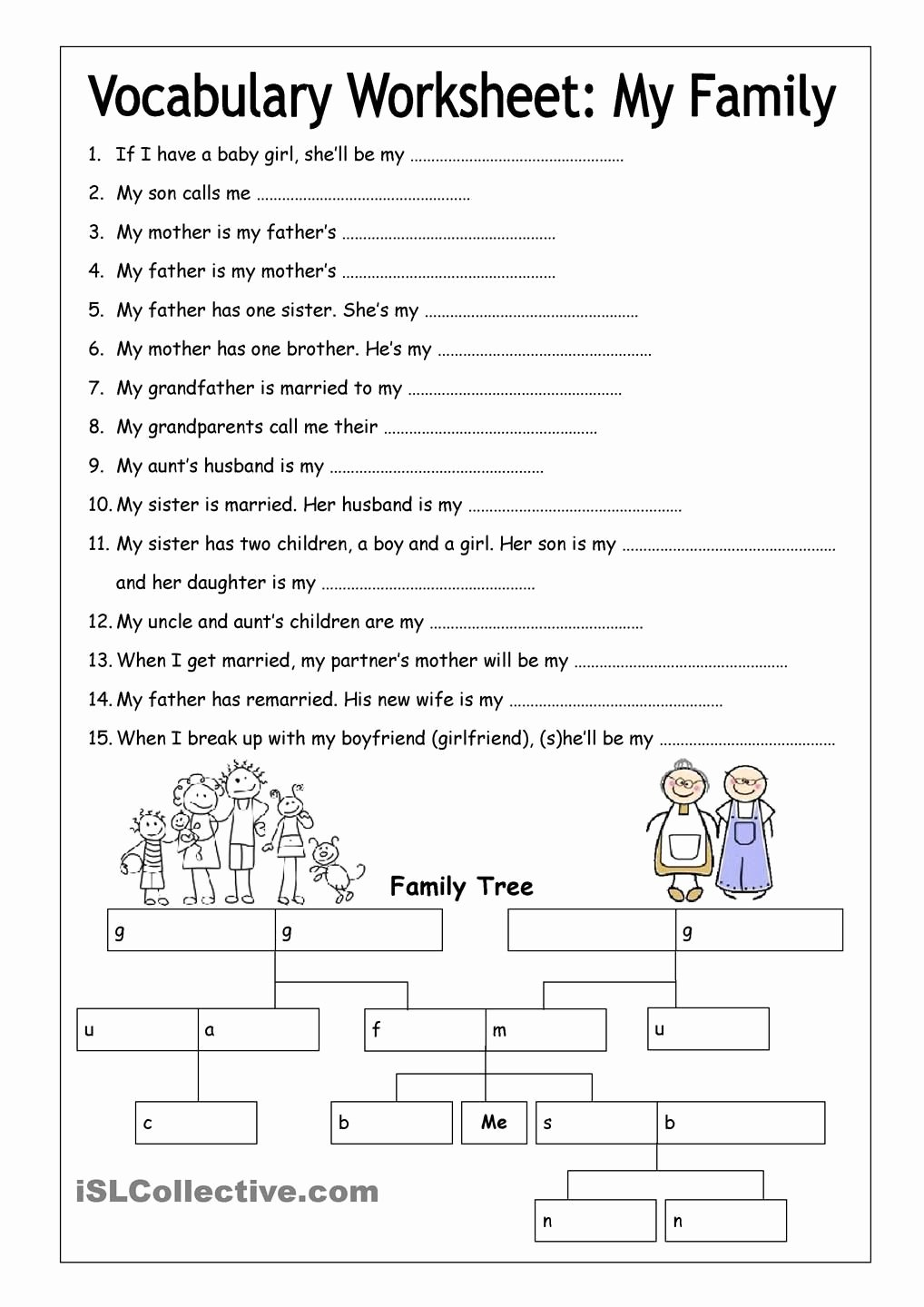 Family Tree Worksheet Printable Inspirational Vocabulary Worksheet My Family Medium