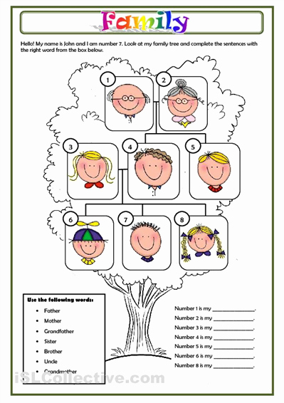 Family Tree Worksheet Printable New Family Worksheet Free Esl Printable Worksheets Made by