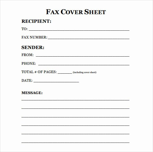 Fax Cover Sheet Template Word Fresh Sample Fax Cover Sheet 10 Examples & format