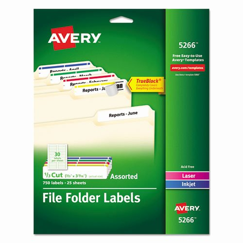 File Folder Label Template Elegant Avery 5266 Permanent File Folder Labels Trueblock Laser