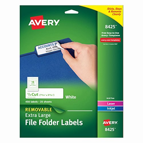 File Folder Label Template Luxury Avery Removable Extra File Folder Labels 1 3 Cut