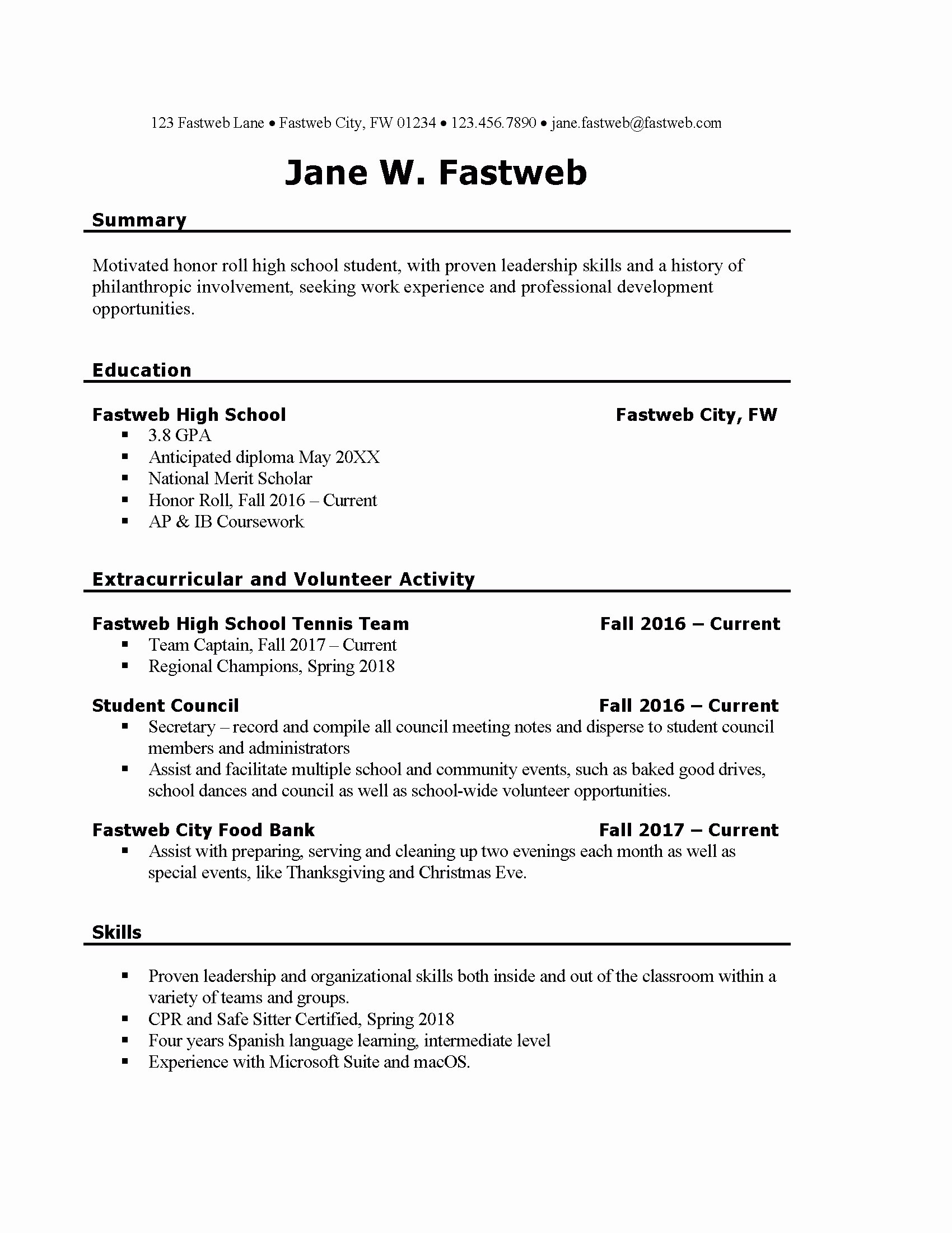 First Time Job Resume Elegant Student Job Resume Examples