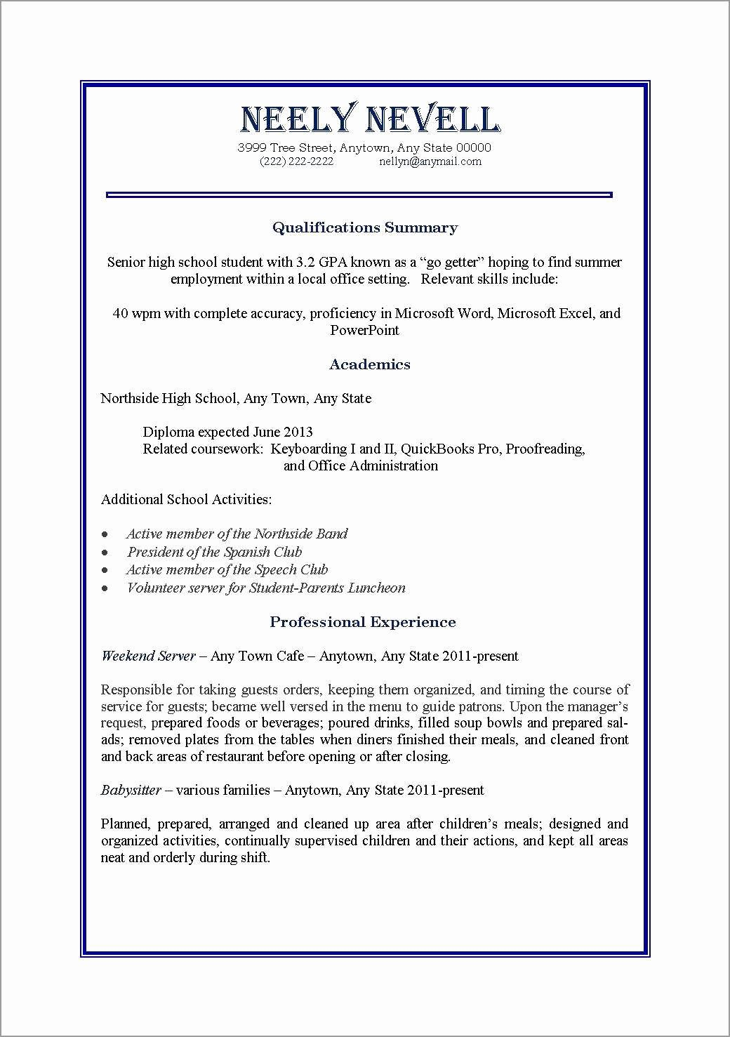 First Time Job Resume Lovely 10 Resume for First Job Out College