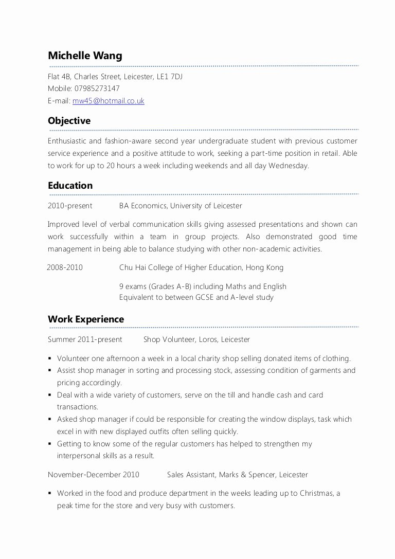 First Time Job Resume New Example Part Time Cv