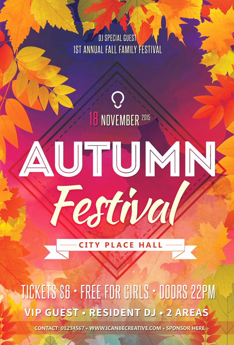 Flyer Templates Free Downloads Beautiful Free Psd Flyer Templates for Autumn Сelebration Party