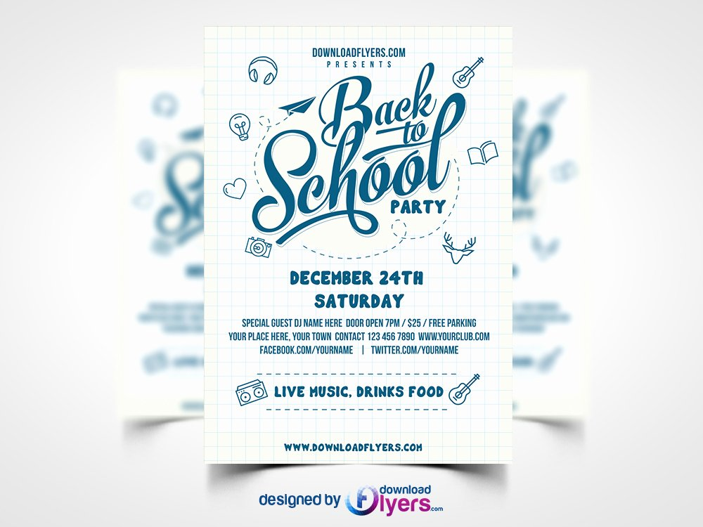 Flyer Templates Free Downloads New Back to School Party Flyer Template Free Psd Download Psd