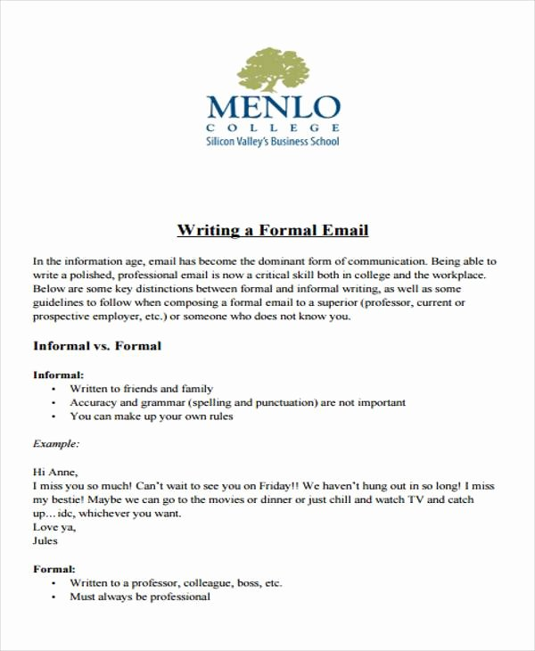 Formal E Mail Example Awesome Sample formal Letter format 34 Examples In Pdf Word