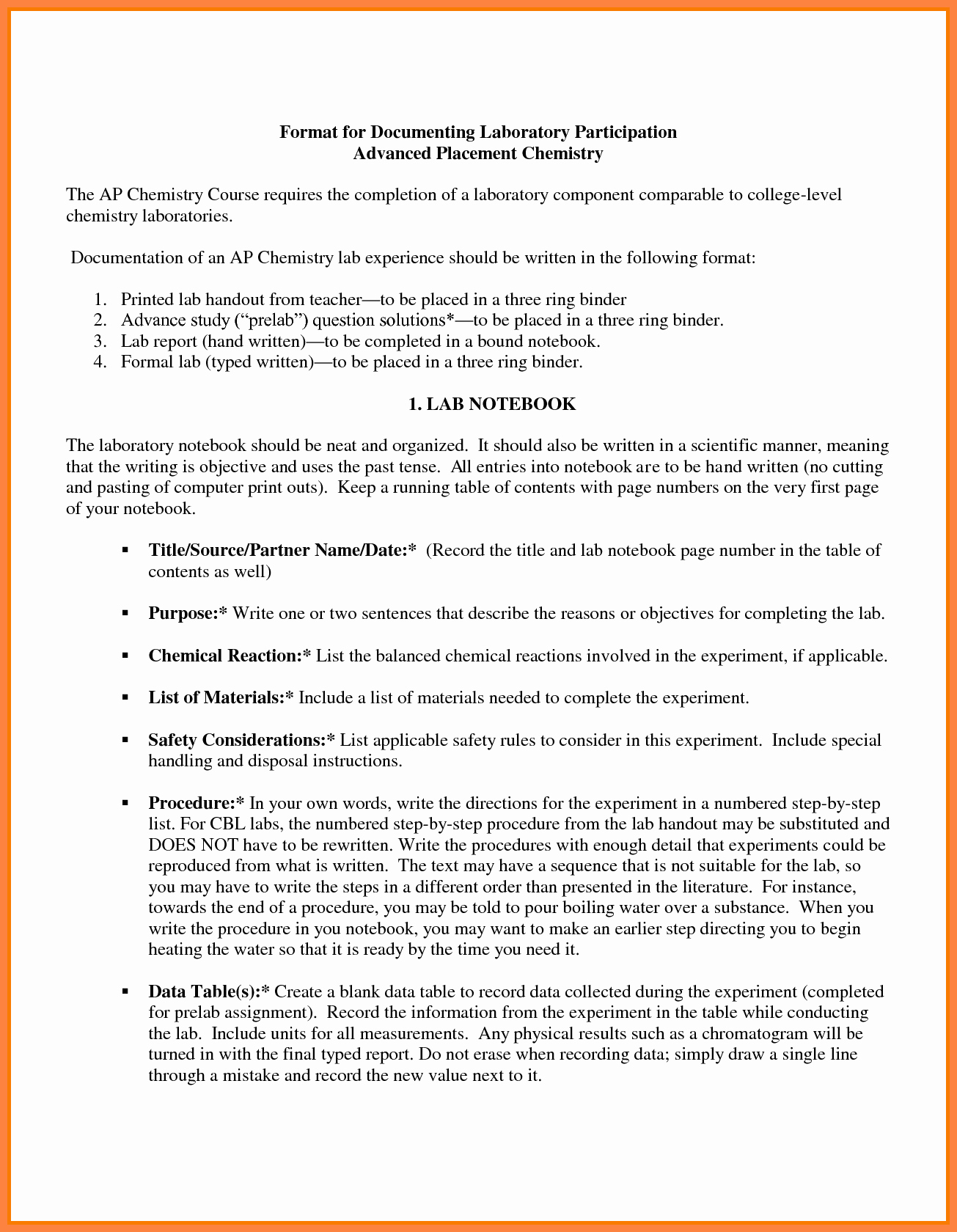 Formal Lab Report Template Awesome 9 Chemistry Lab Report Example