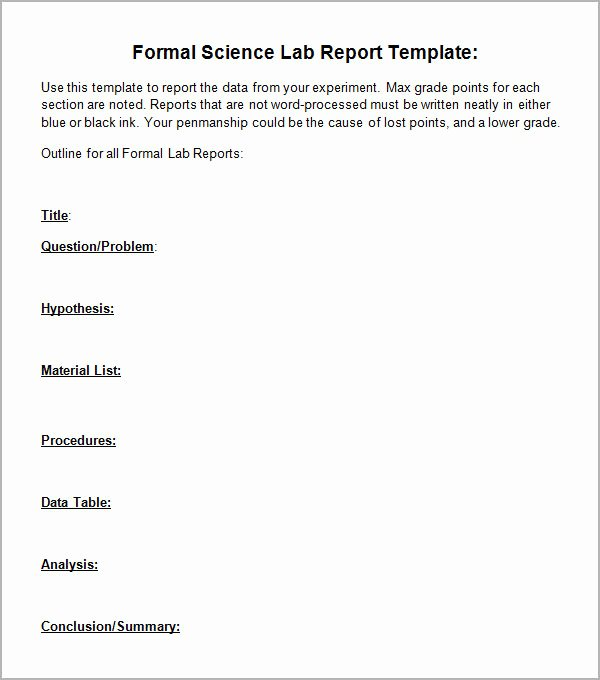 Formal Lab Report Template Awesome Free 7 Sample Lab Report Templates In Pdf