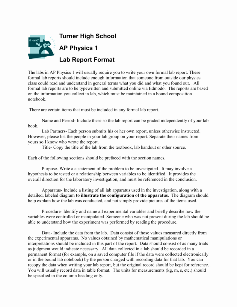 Formal Lab Report Template Awesome Pre Ap Physics Lab Report format