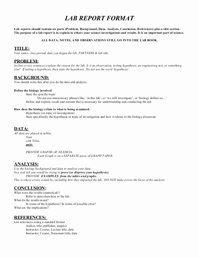 Formal Lab Report Template Beautiful Lab Report format