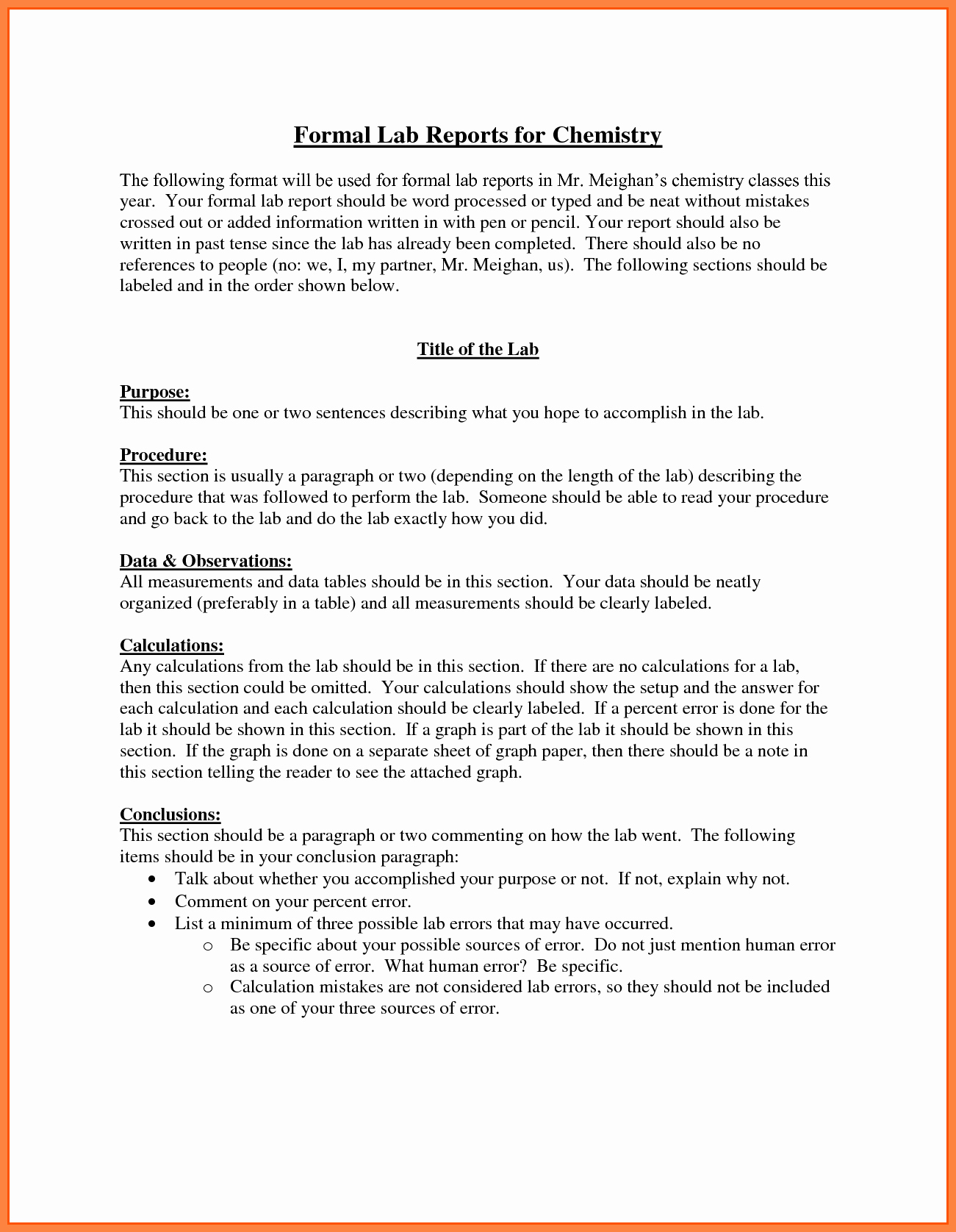 Formal Lab Report Template Inspirational 9 Chemistry Lab Report Example