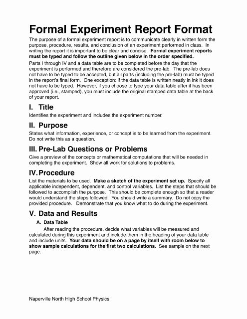 Formal Lab Report Template Luxury formal Lab Report format the Idiot's Manual to formal Lab