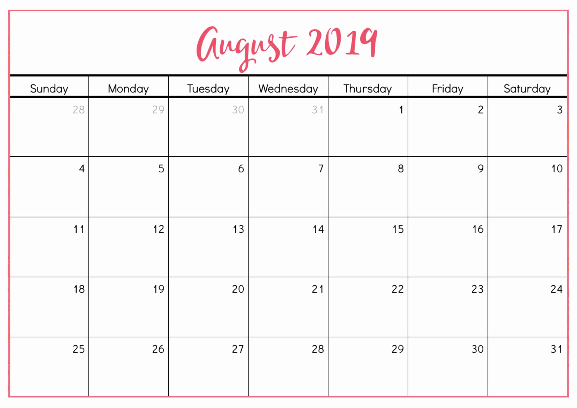 Free 2019 Calendar Template Awesome Free Printable August 2019 Calendar Cute