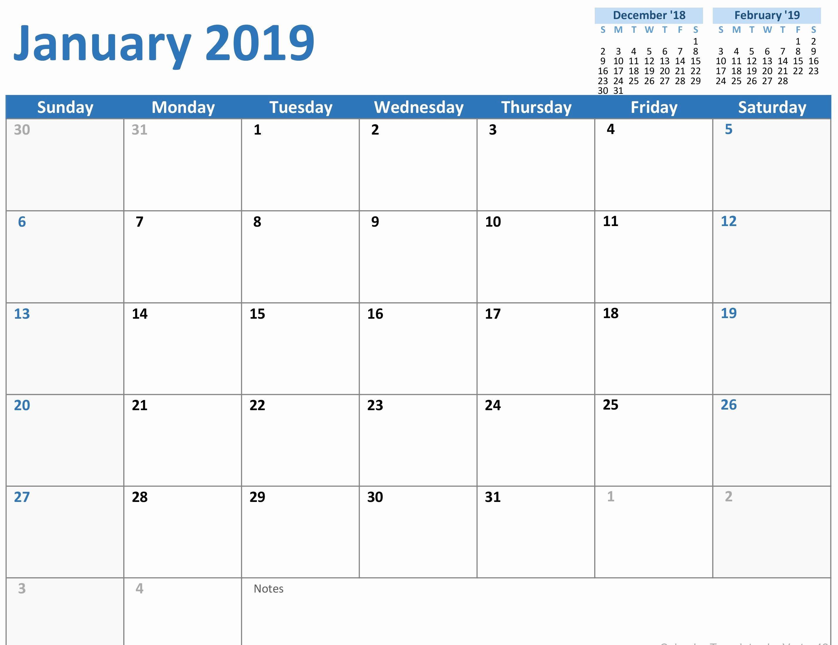 Free 2019 Calendar Template Best Of 250 Free January 2019 Calendar Printable Templates