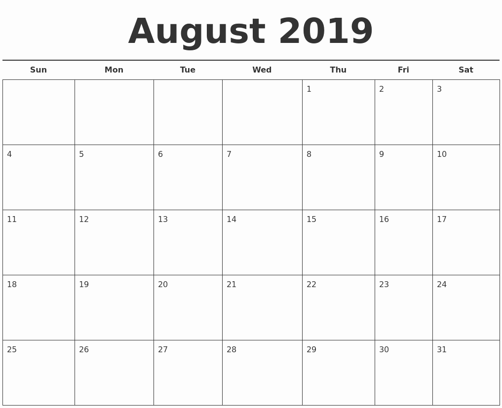 Free 2019 Calendar Template Best Of August 2019 Free Calendar Template