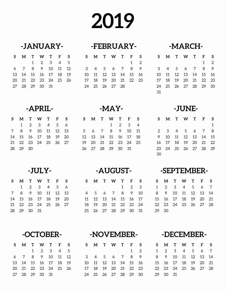 Free 2019 Calendar Template Best Of Free Printable Calendar 2019 Templates Holidays Pdf