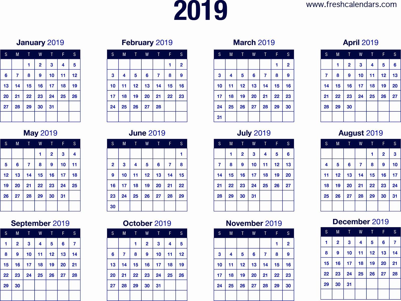Free 2019 Calendar Template Elegant 2019 Calendar