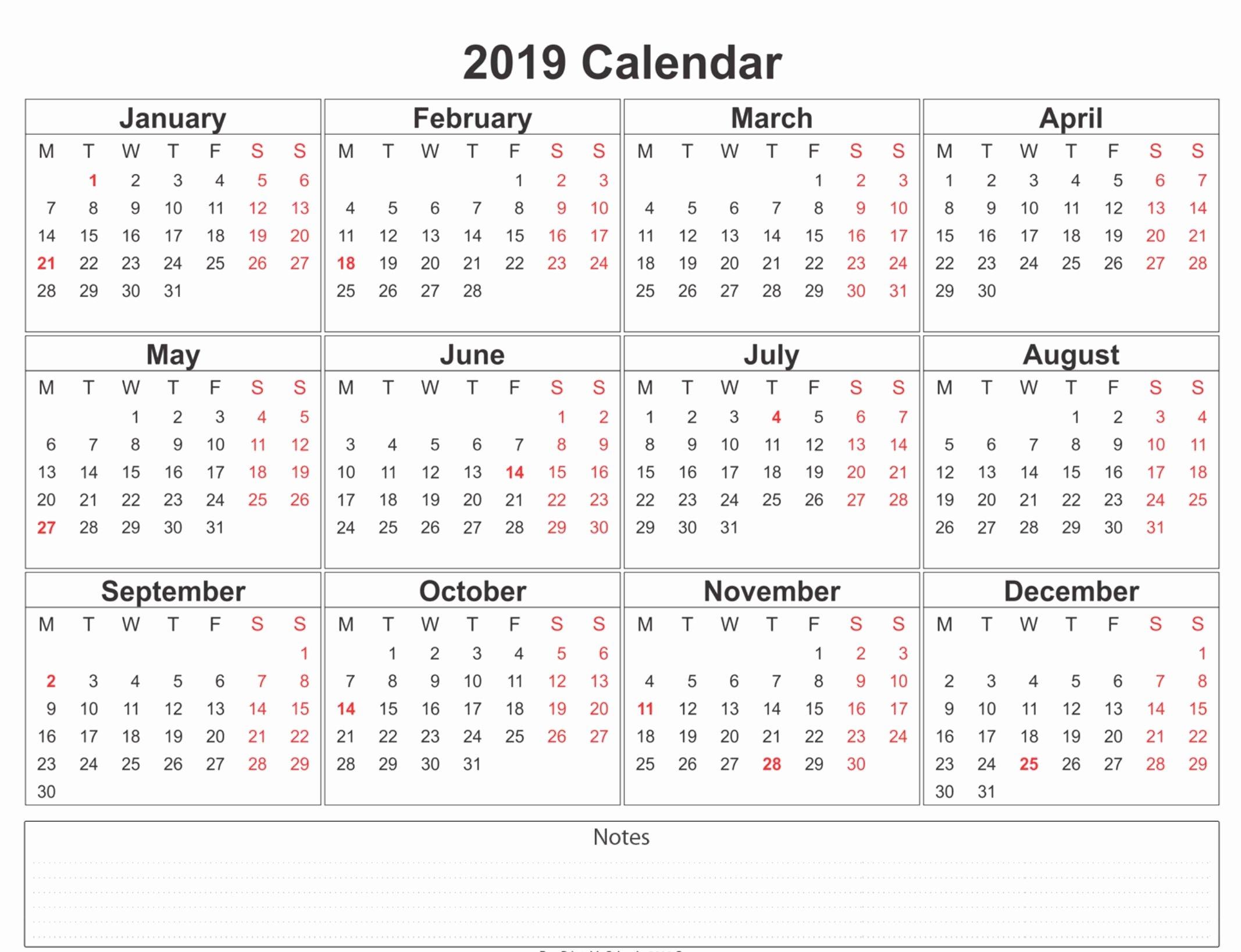 Free 2019 Calendar Template Elegant 2019 Calendar Printable Free A4 Template