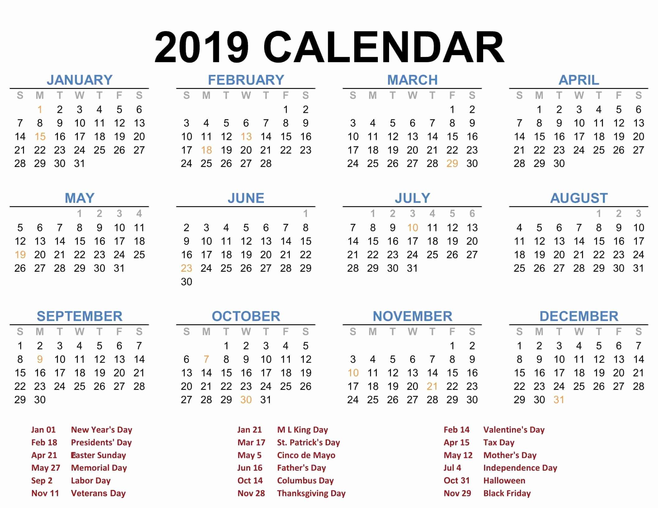 Free 2019 Calendar Template Elegant 2019 Printable Calendar Templates Pdf Excel Word Free