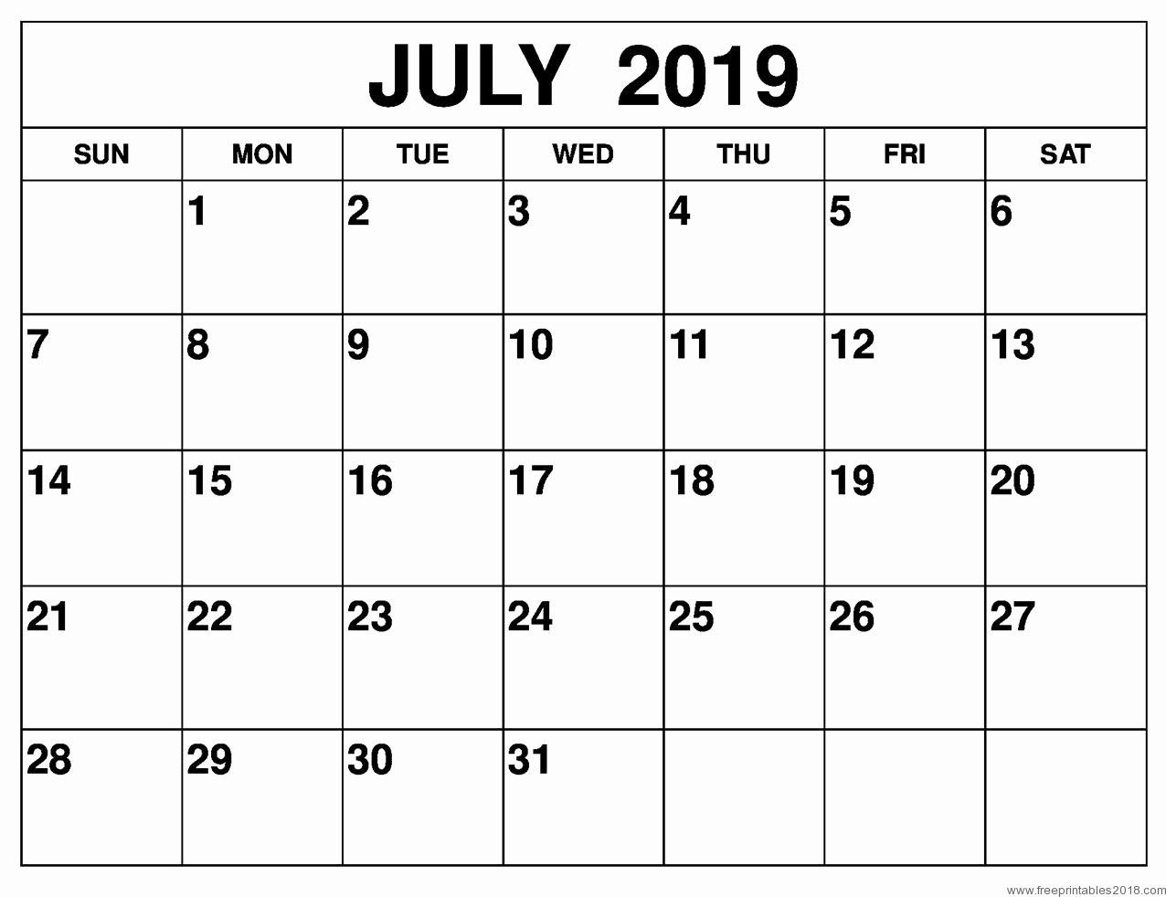 Free 2019 Calendar Template Elegant Calendar July 2019 Free Printable Templates