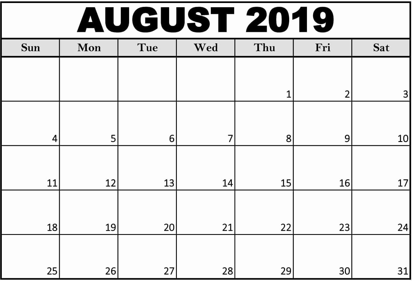 Free 2019 Calendar Template Elegant Free Printable August 2019 Calendar Cute